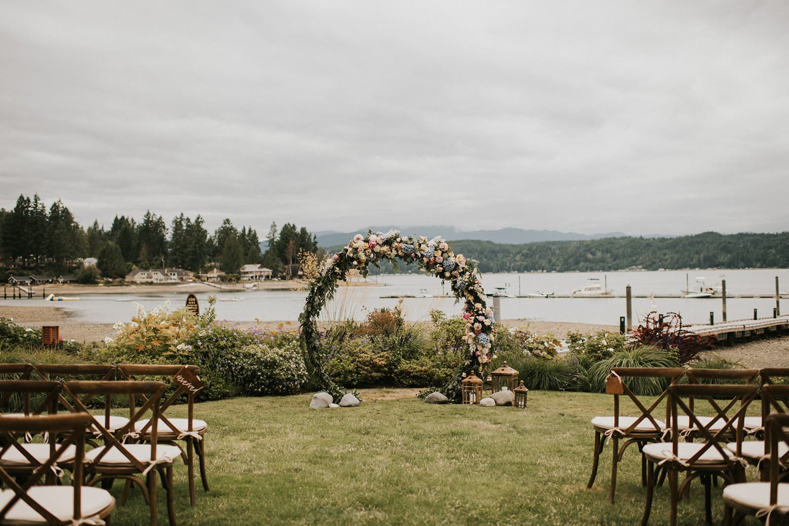 wedding ceremony setup at alderbrook resort