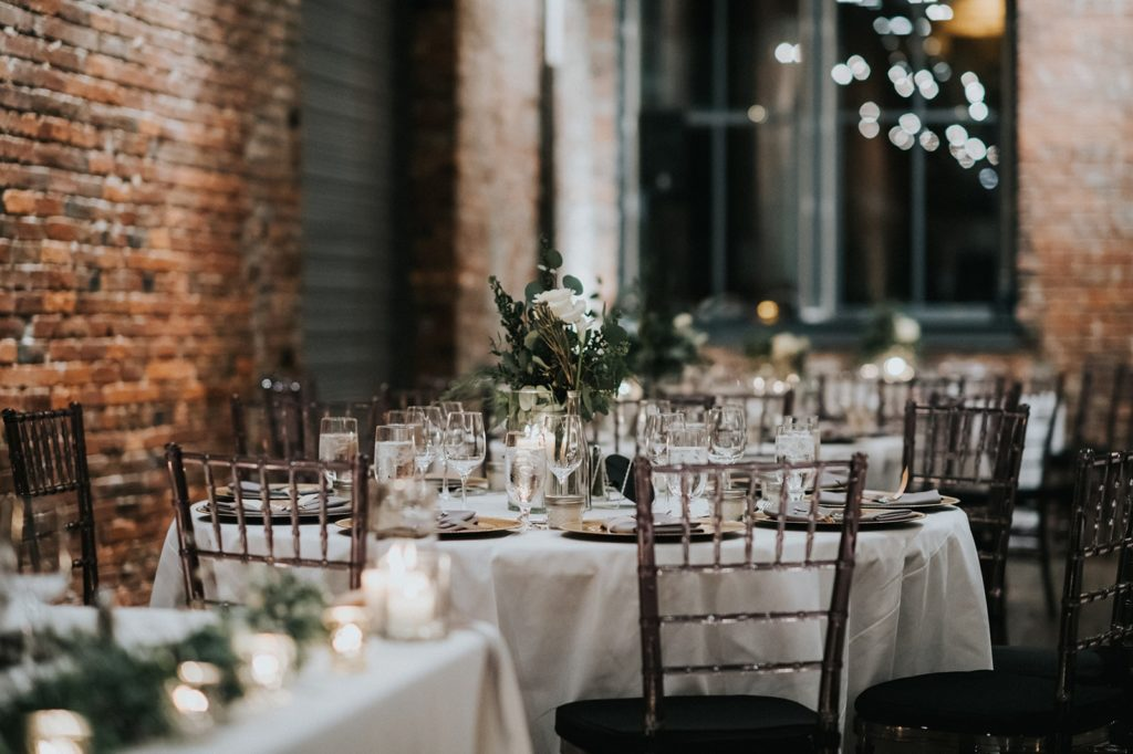 wedding reception table at axis pioneer square