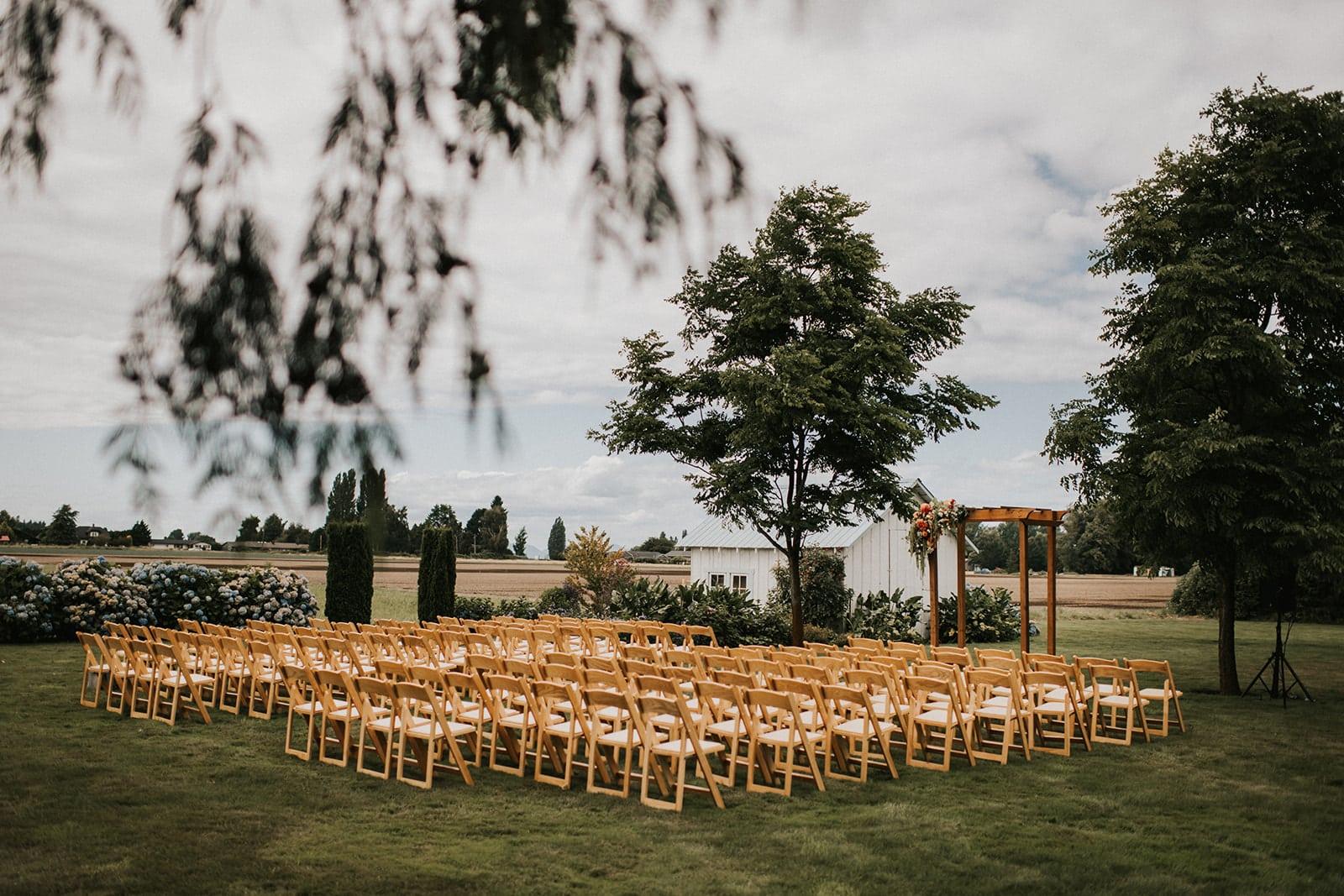 wedding ceremony setup at faberfarm in mount vernon washington