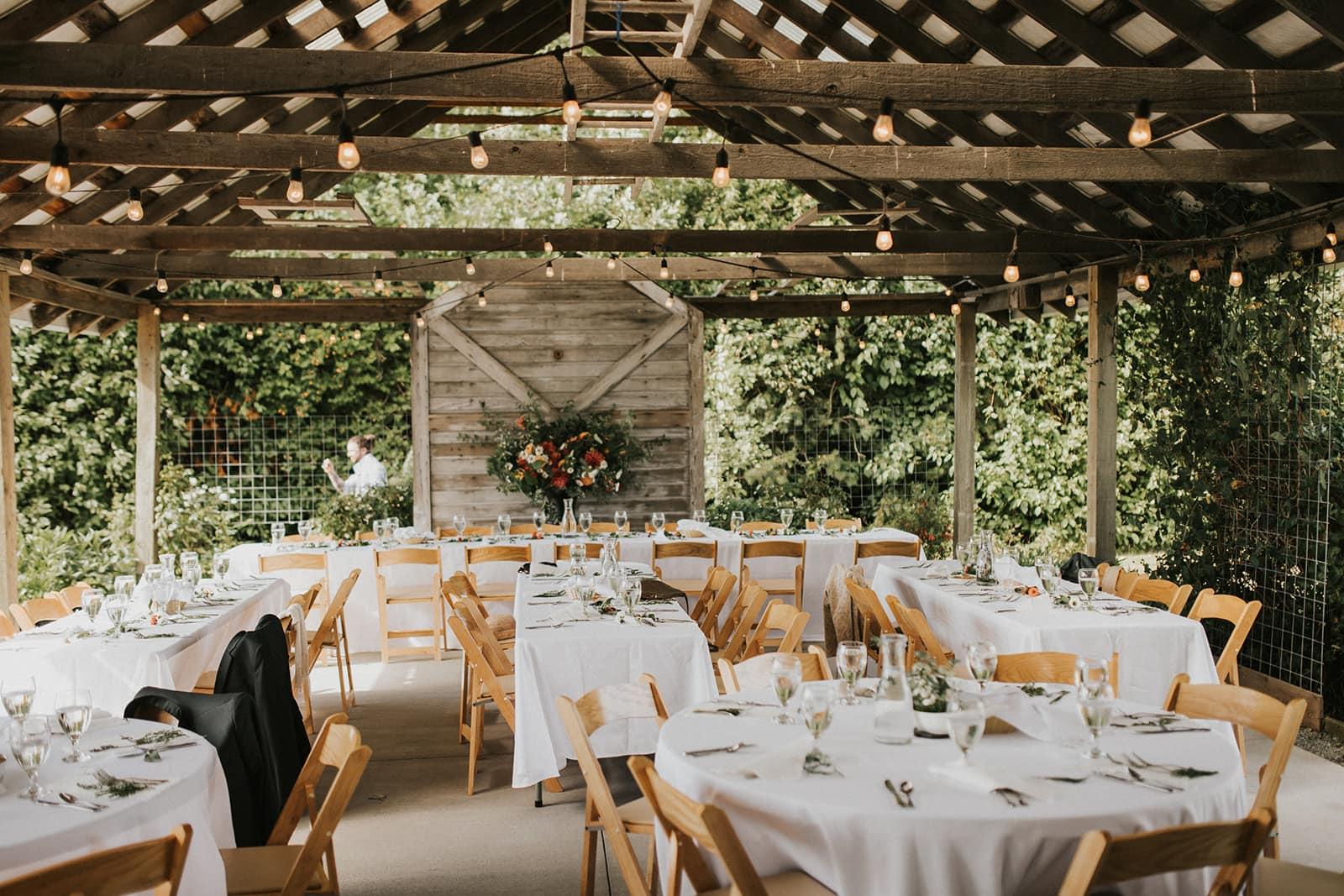 indoor outdoor wedding venue space at faberfarm