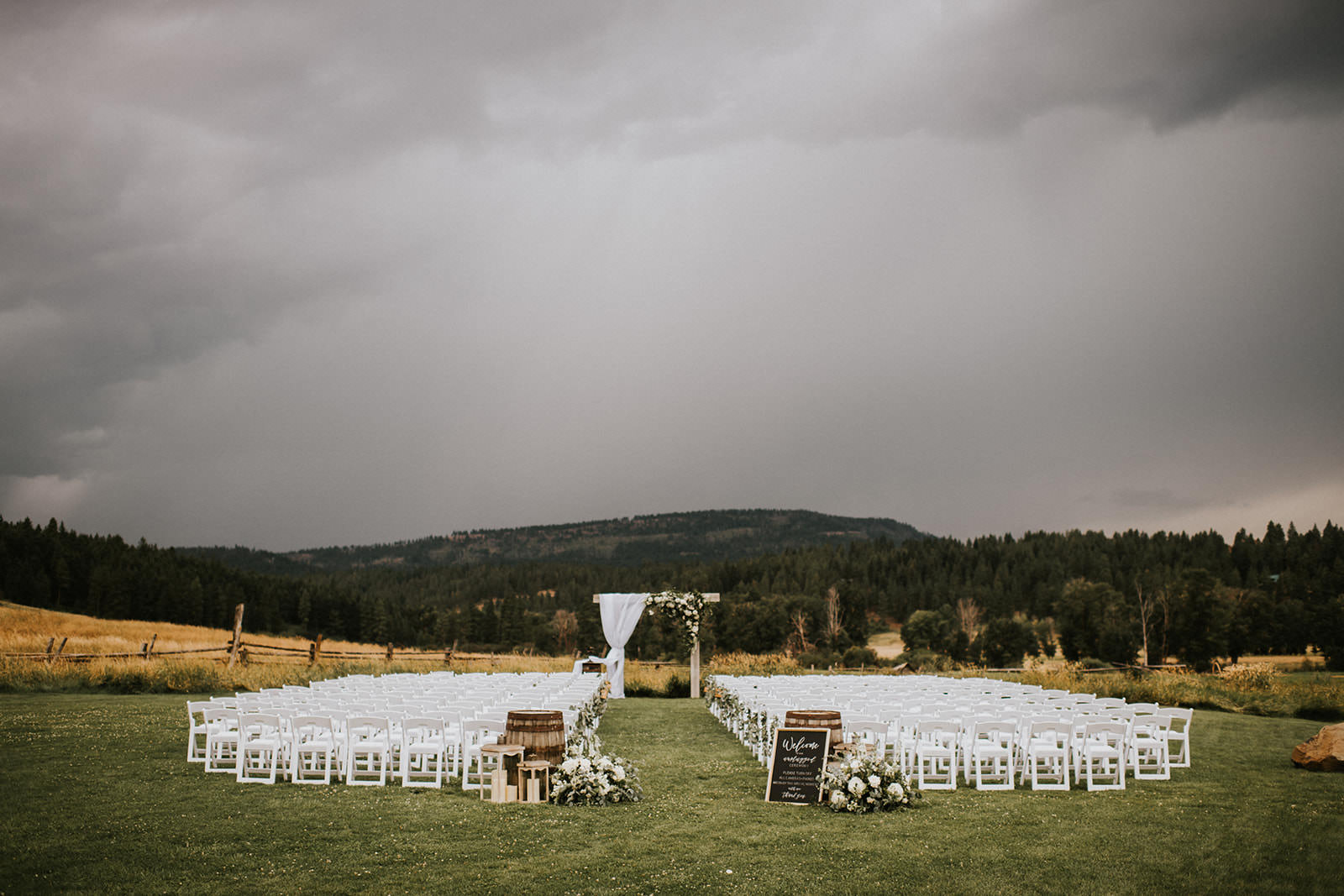 ceremony setup on a moody pnw day