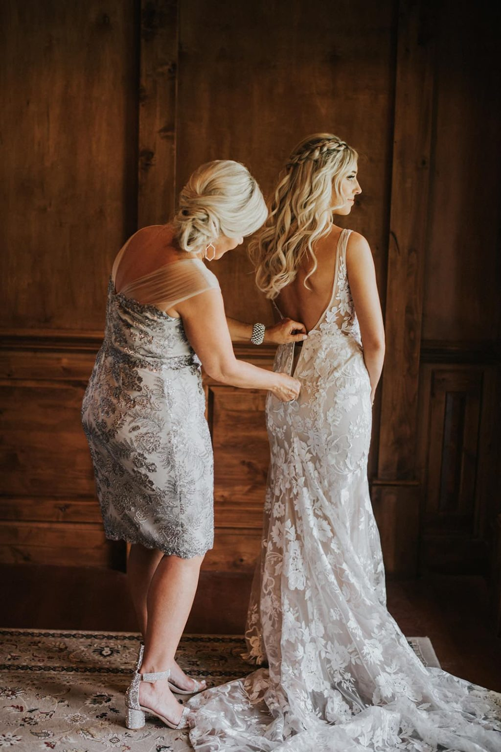 bride and mom getting ready inside farmhouse