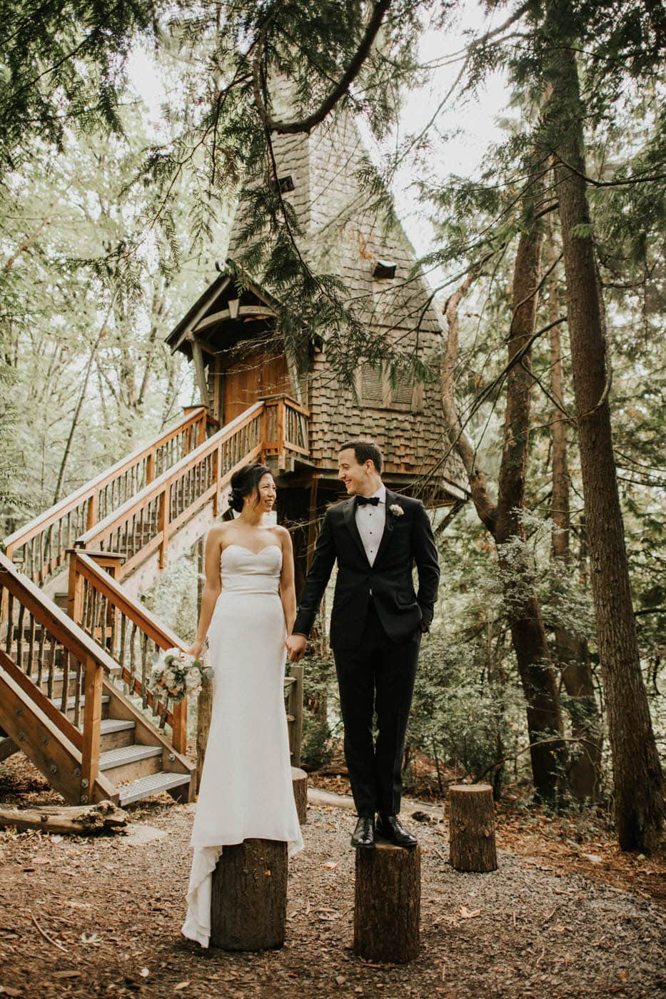 Bride and groom photos at treehouse built by pete nelson at islandwood bainbridge island