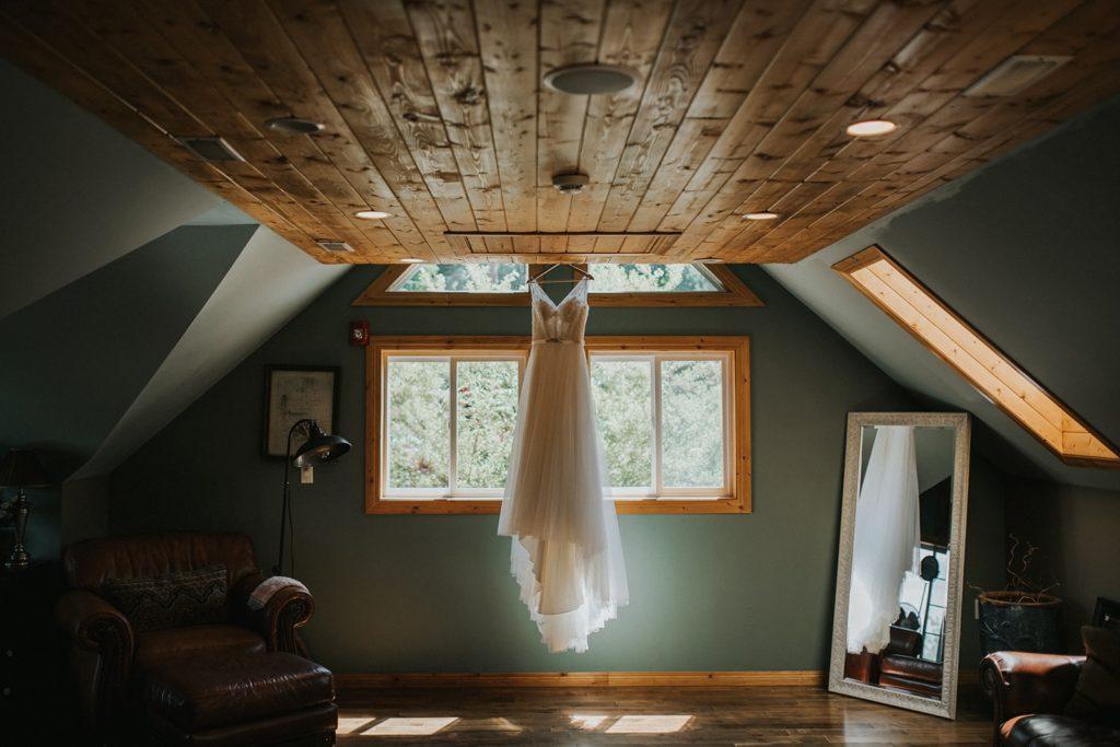 Dress hanging at Pine Creek Farms
