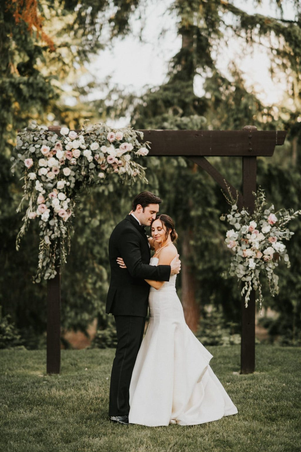 bride and groom sunset portraits at the lodge at trinity tree farm