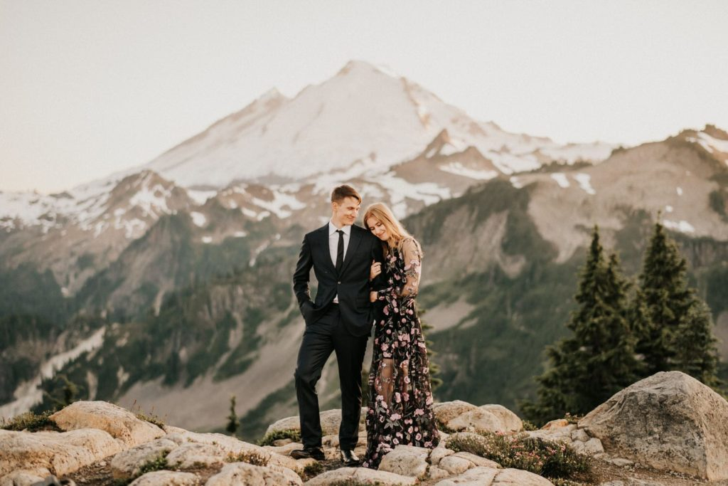 engagement photos in floral dress at mount baker artist point