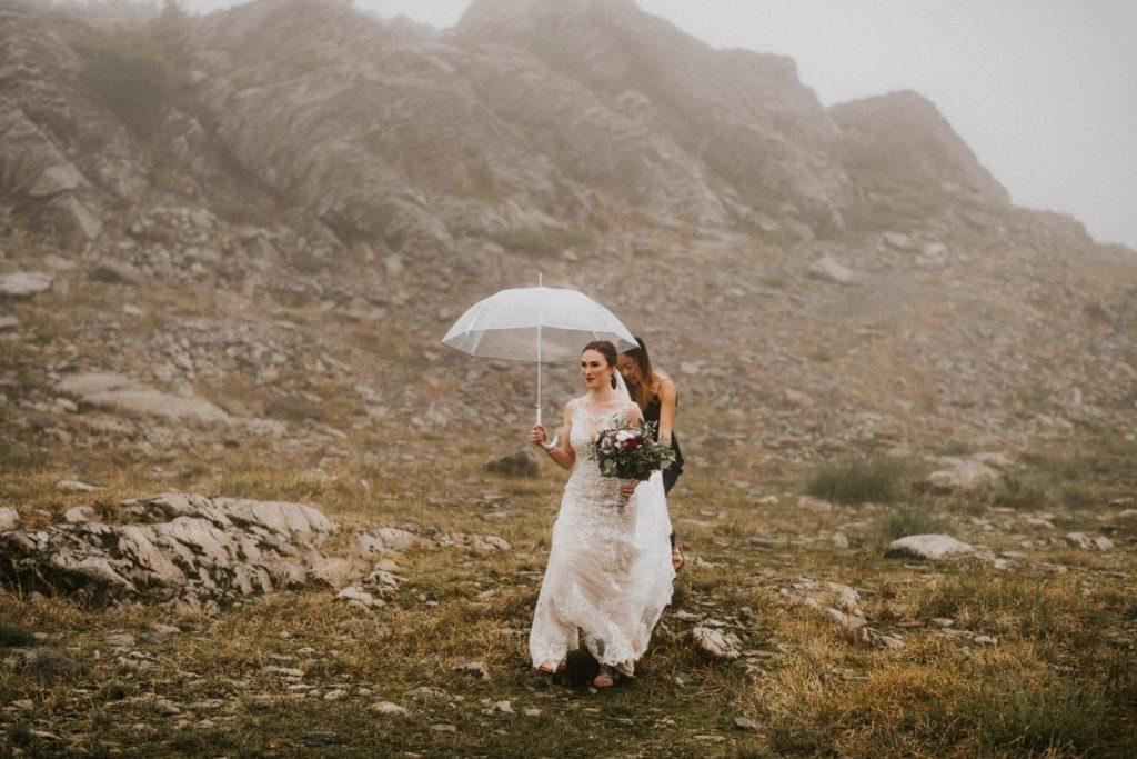 bridesmaid walking with bride