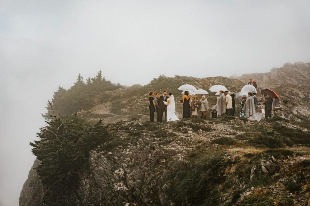 wide shot of ceremony for artist point elopement