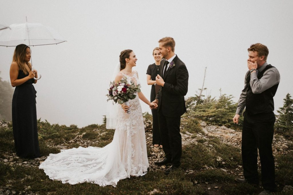 bride and groom looking at each other at their ceremony