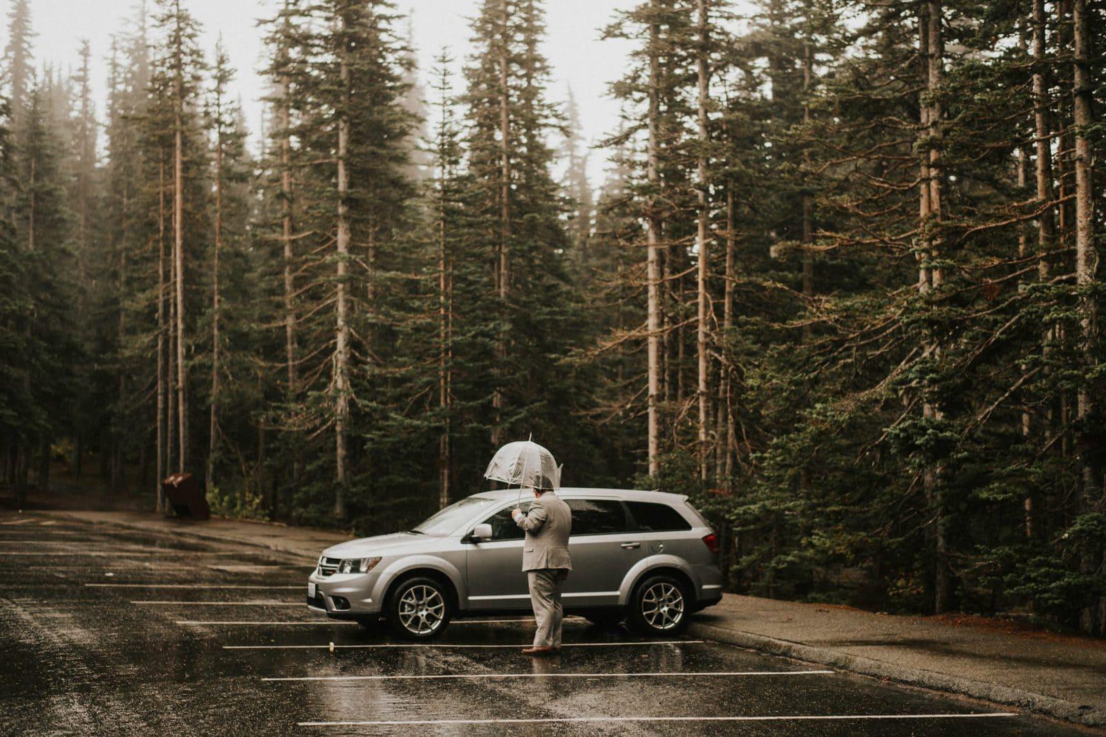 Groom standing by car