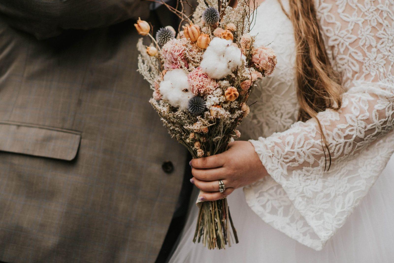 closeup of bride's bouquet
