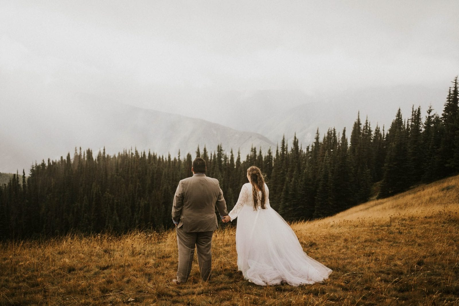 bride and groom looking at mountain views