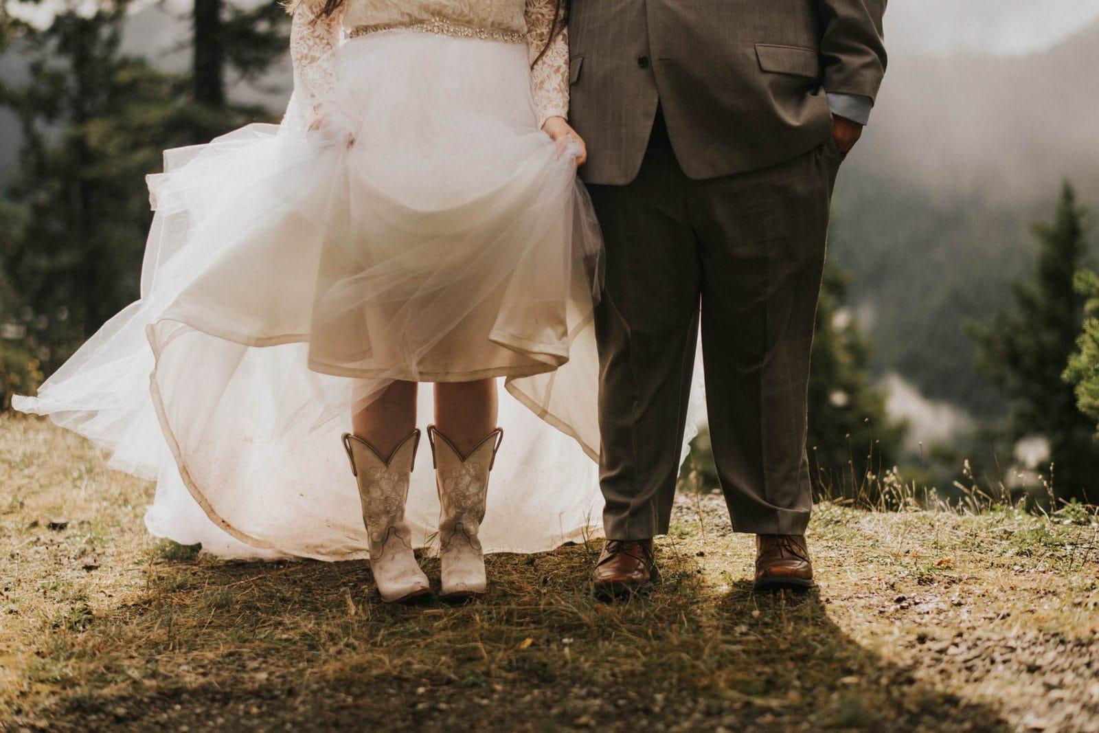 closeup of bride's cowboy boots