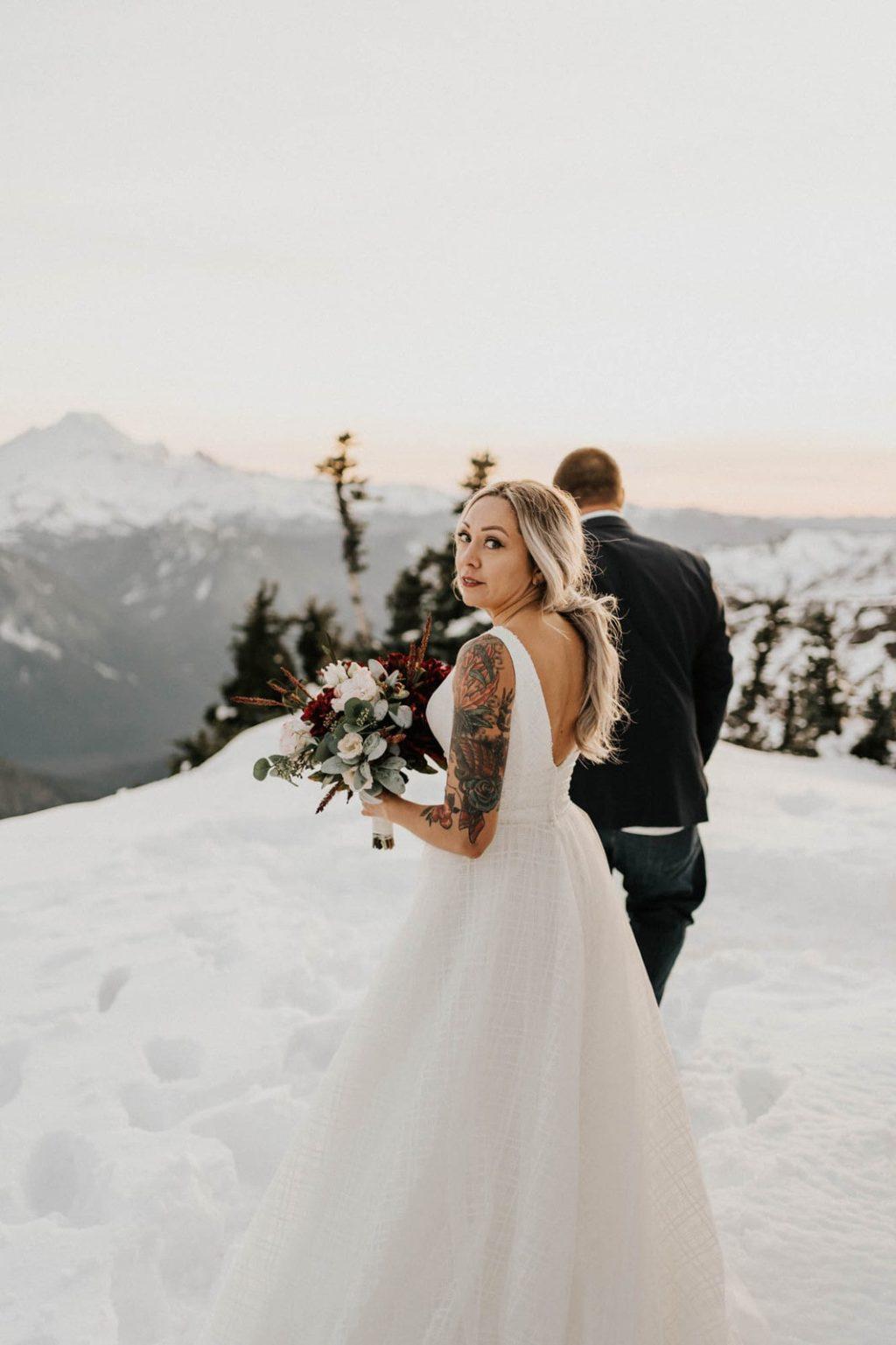 bride looking over her shoulder