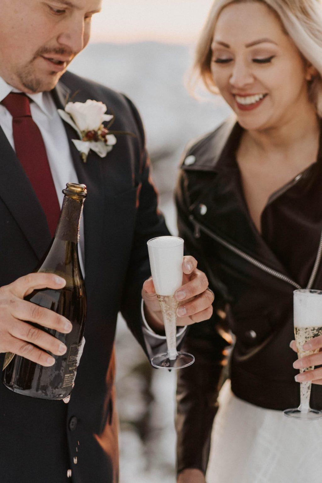 closeup of champagne glasses