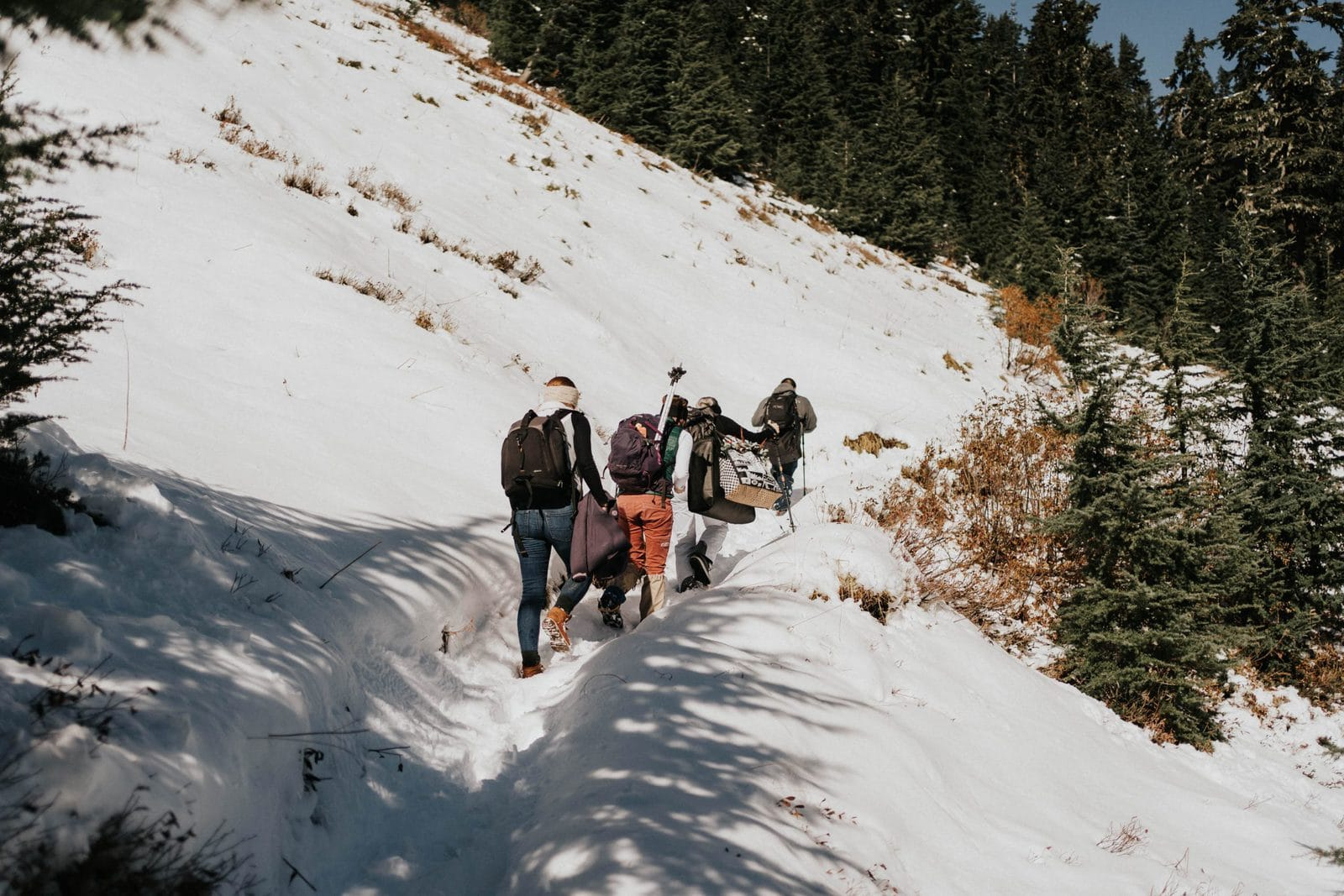 Hiking up to elopement