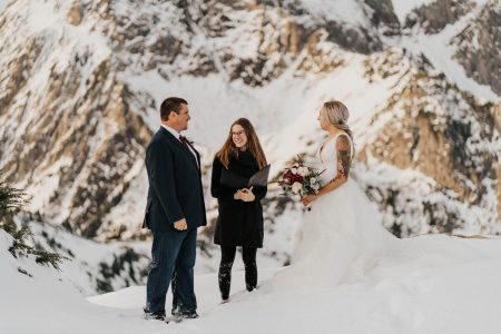 bride and groom at their ceremony at mount baker elopement