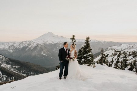 bride and groom looking at each other at mount baker elopement