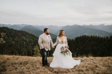 olympic national park elopement photo of bride and groom after getting married